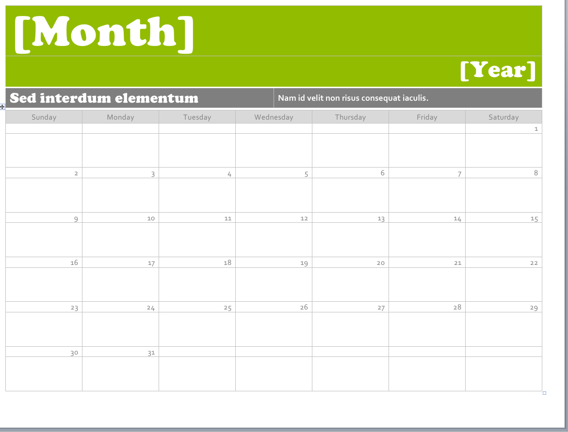 calendar template for word 2010