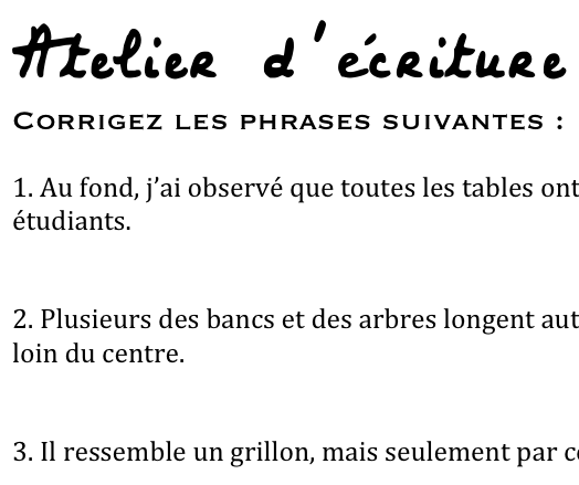 Workshopping Sentences in the Writing Classroom – En Francais, Classe!